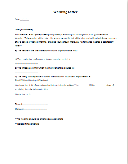 7 Professional Warning Letter Templates – Sample Final Notice Letter