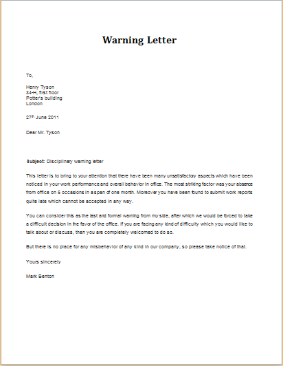 disciplinary action warning letter