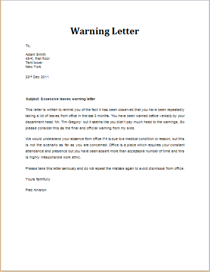 excessive leaves warning letter