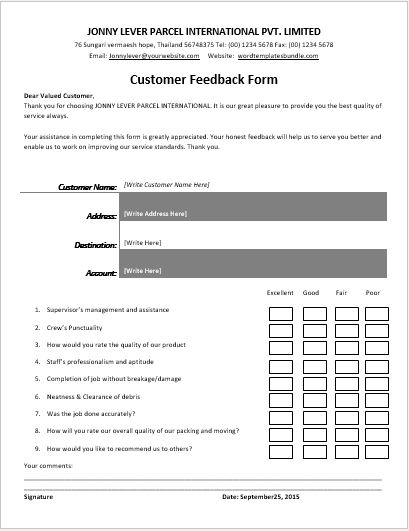 Customer Feedback Forms For All Businesses  Formal Word Templates