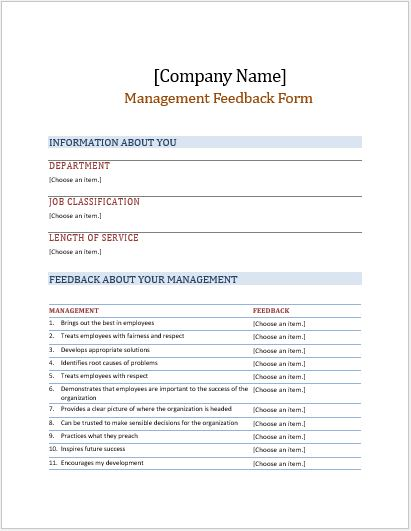 Management Feedback Form