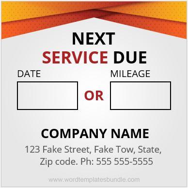Service Reminder Sticker Template