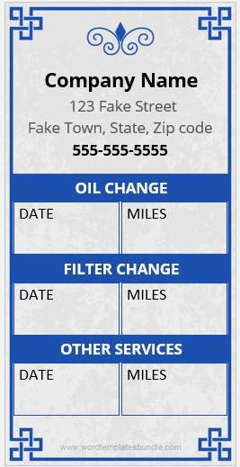 Service Reminder Sticker