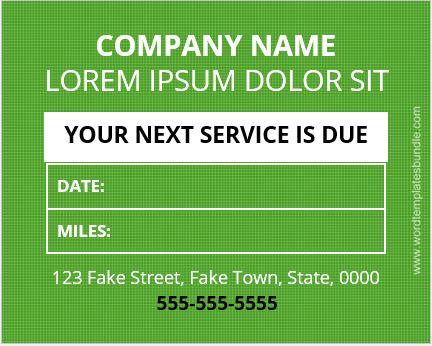 Service Reminder Sticker Sample