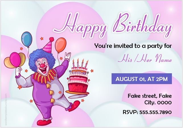 Birthday party invitation cards for ms word formal word templates birthday party card for ms word stopboris Gallery