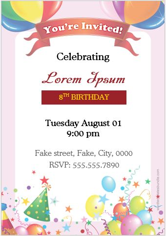 Birthday party invitation cards for ms word formal word templates birthday party invitation card ms word stopboris Images