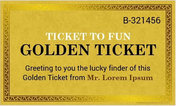 Golden Ticket Templates For MS Word