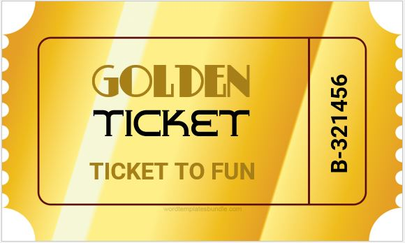 photo relating to Printable Golden Tickets named Golden Ticket Template Cost-free