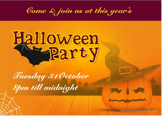 Halloween Party Invitation Cards for MS Word – Halloween Party Invitation Cards