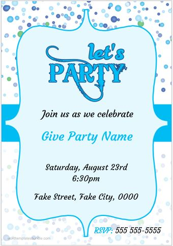 MS Word Party Invitation Card