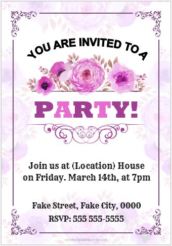 Party Invitation Card MS Word