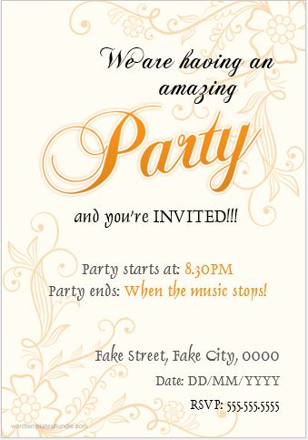 Party Invitation Card Templates For Ms Word Formal Word Templates