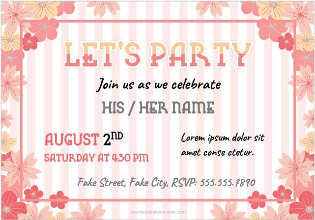 Party Invitation Card for MS Word