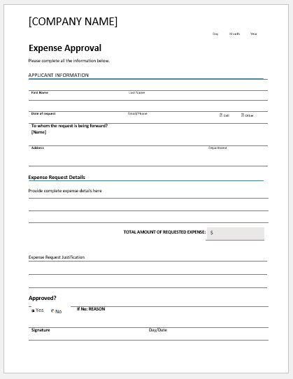 Food expense approval form