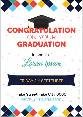 Graduation Party Invitation Card Template MS Word