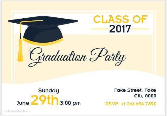 Graduation Invitation Card Template MS Word