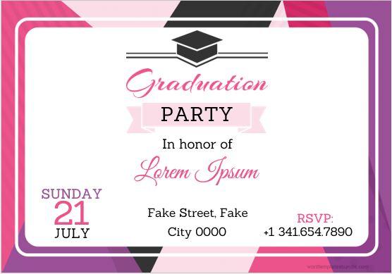 Graduation Invitation Card Template Sample MS Word