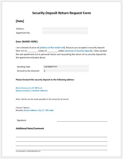 security deposit refund request form to landlord