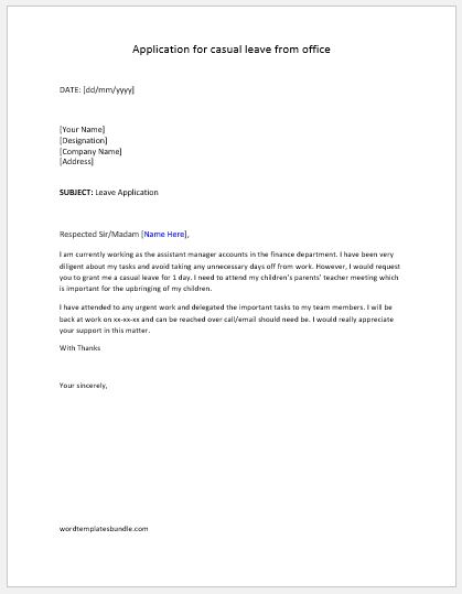 Leave Application Letter Templates | Formal Word Templates