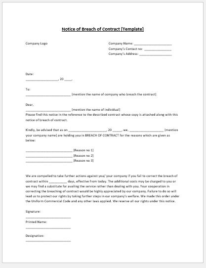 MS Word Breach of Contract Notice Template