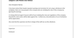 Cell phone use notice to employees
