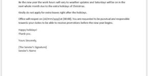 Christmas holiday announcement letter