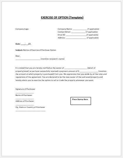 MS Word exercise of option notice template