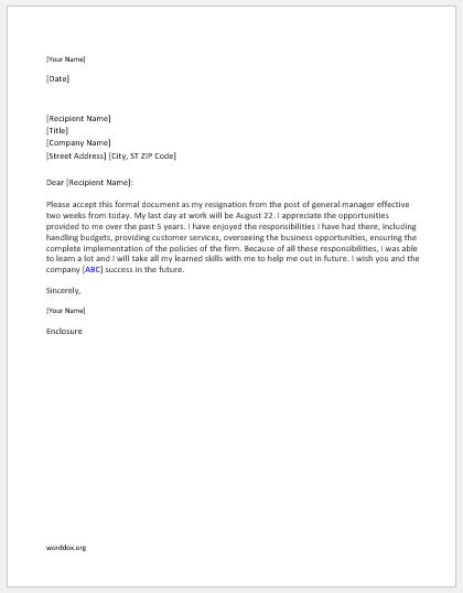General manager resignation letter
