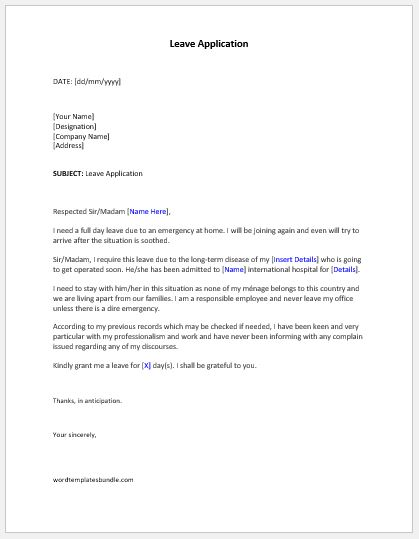 Letter For Leave Reuest To School