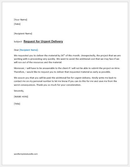 Request Letter For Urgent Delivery Ms Word Formal Word