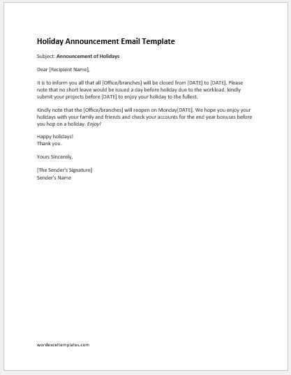 Staff holiday announcement letter