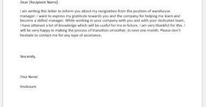 Warehouse manager resignation letter