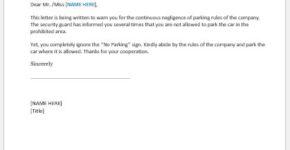 Warning letter for parking violations