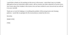 Wrong invoice explanation letter