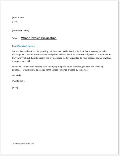Wrong Invoice Explanation Letter Ms Word  Formal Word Templates