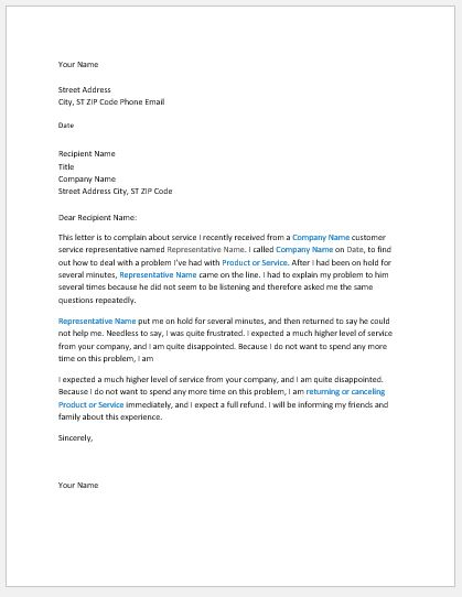 11 business letter templates for all businesses formal word 5 complaint letter about poor service spiritdancerdesigns Image collections