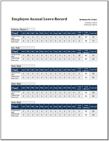 Employee annual leave record sheet template