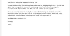 Encouragement letter to an employee after disappointment