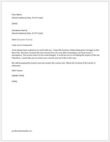 Correction letters sample templates formal word templates invoice correction letter for being undercharged spiritdancerdesigns Choice Image
