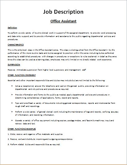 Job description form templates for ms word formal word for Template for job description in word
