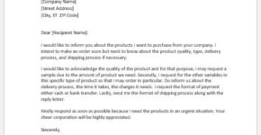 Letter of intent to purchase the product