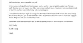 Letter to employee for the correction of the behavior