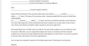 Notice to Cancel Back Ordered Goods Sample