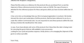 Notice to Reclaim Goods Sample Template