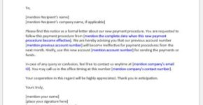 Notice to Redirect Payment Template