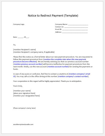 wp template redirect - notice to redirect payment sample template formal word