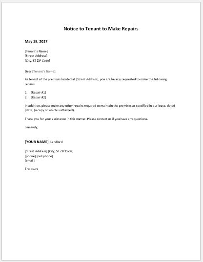 notice to tenant to make repairs templates