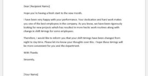 Notification letter to employee for shift change