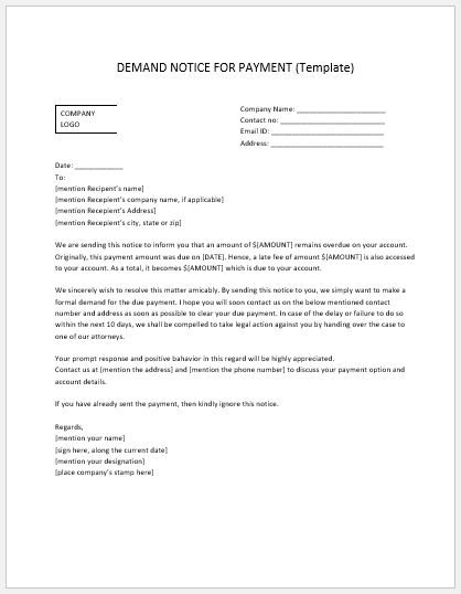 Payment Demand Notice Template