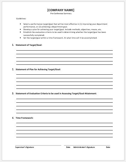 Pre conference summary template